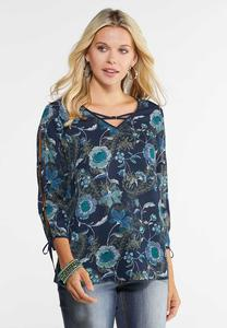 Embellished Navy Floral Top