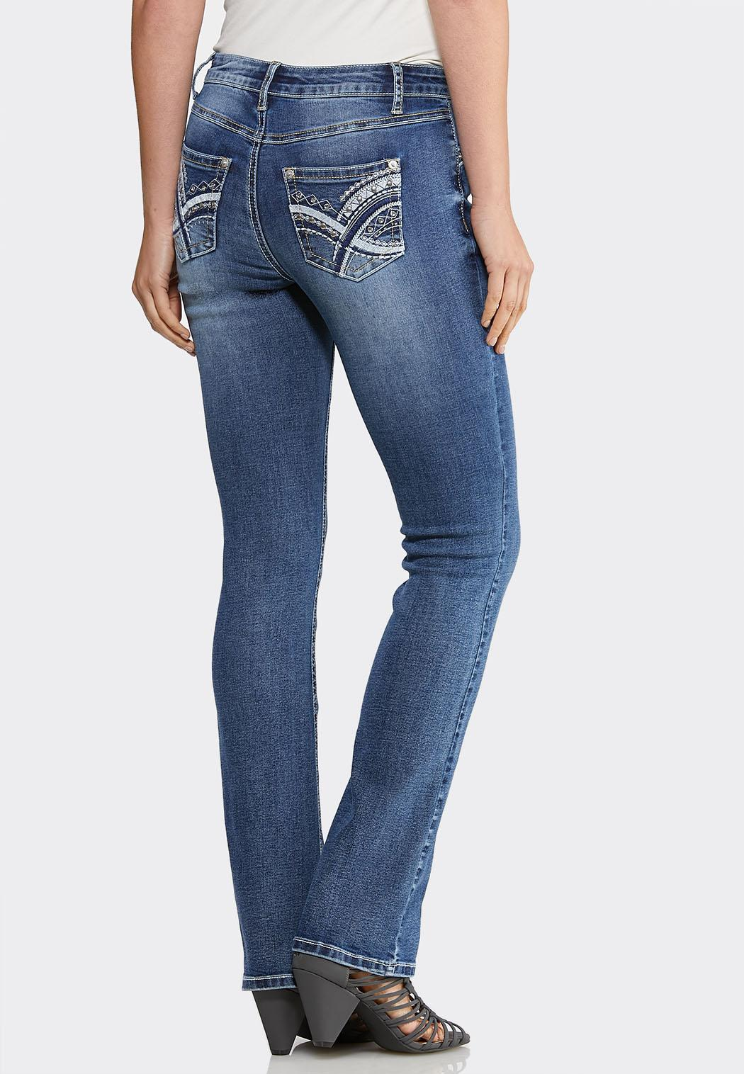 Petite Stitched Embellished Jeans
