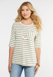 Plus Size Striped Pocket Tee