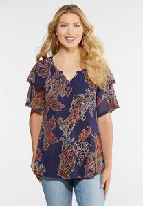Plus Size Paisley Peasant Top