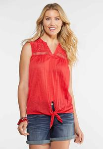 Plus Size Lace Yoke Tied Tank