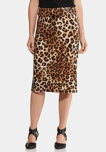 Leopard Hardware Pencil Skirt