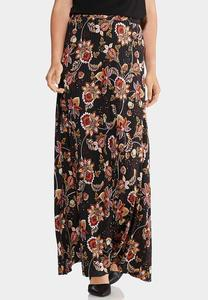 Plus Size Ribbed Floral Skirt