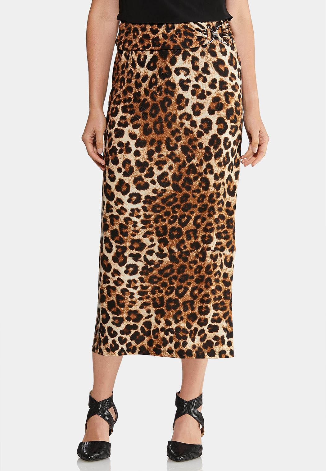 Plus Size Leopard Hardware Skirt