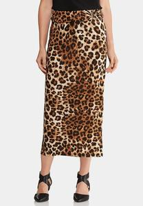 Plus Size Leopard Hardware Skirt