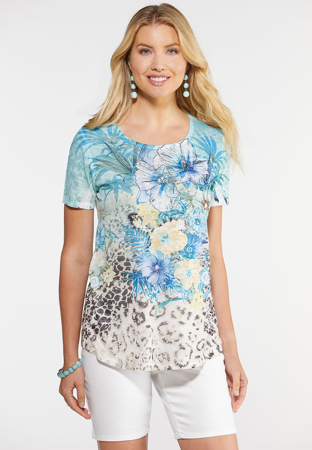 f54bb578391 Tropical Leopard Tee Tees & Amp ; Knit Tops Cato Fashions