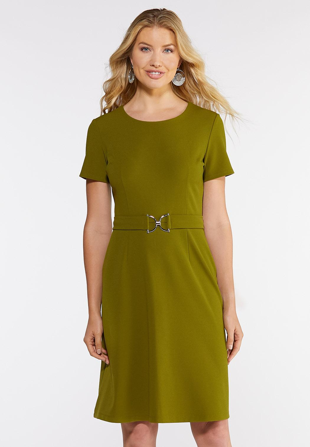 Plus Size Belted Shift Dress A- Line & Amp ; Swing Cato Fashions