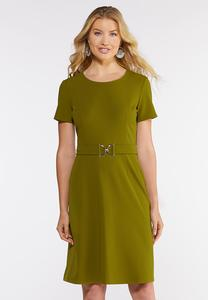Plus Size Belted Shift Dress