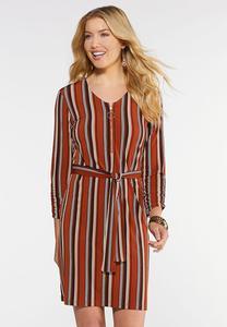 Plus Size Stripe Zip Front Shirt Dress