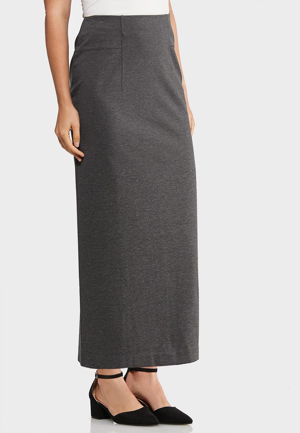 Plus Size Pull-On Ponte Midi Skirt