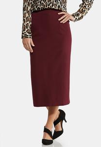 Plus Size Pull-On Ponte Midi Skirt