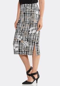 Floral Plaid Puff Skirt
