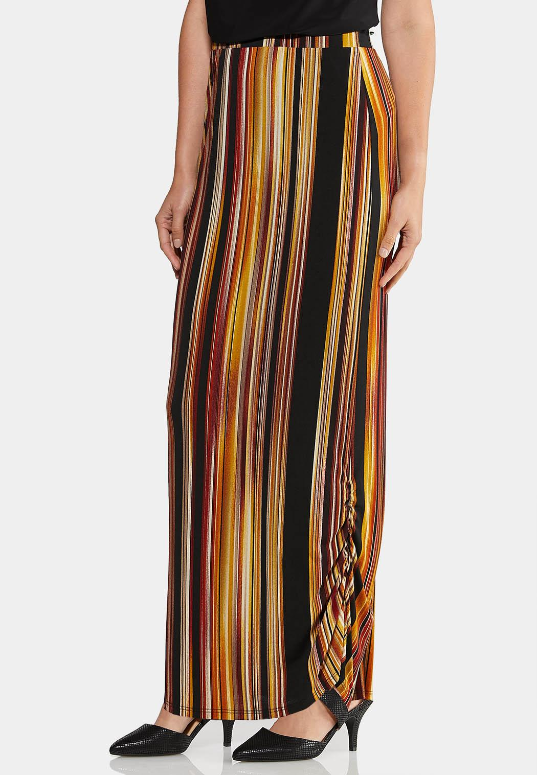 Plus Size Ruched Maxi Skirt