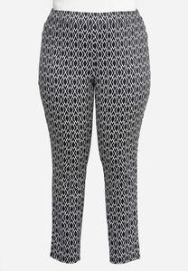 Plus Size Diamond Print Knit Pants