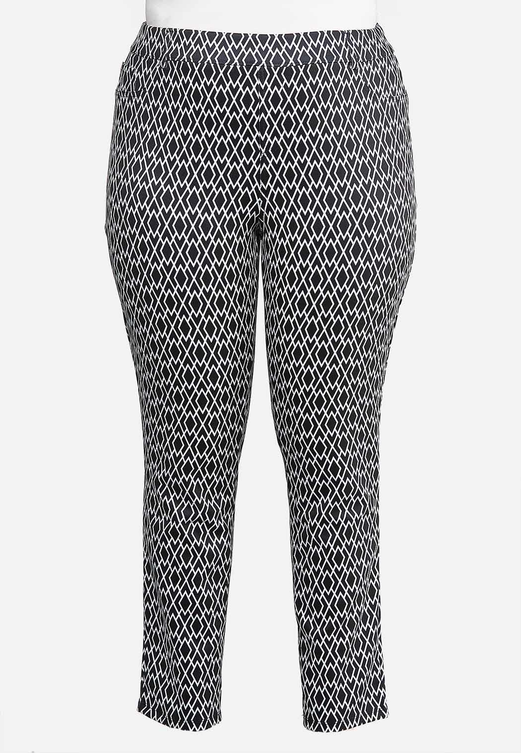 Plus Petite Diamond Print Knit Pants