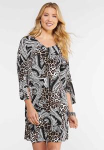 Plus Size Textured Animal Paisley Dress