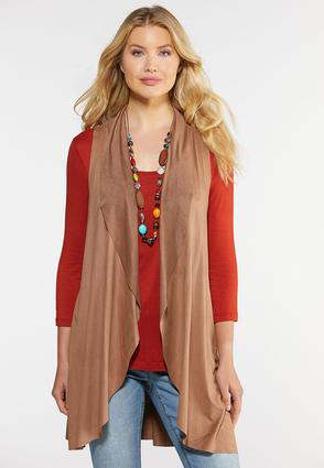 Plus Size Waterfall Suede Vest