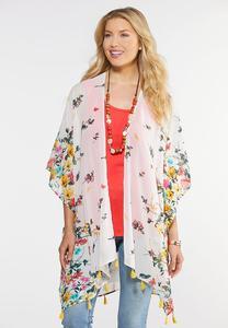 Floral Bloom Tasseled Kimono