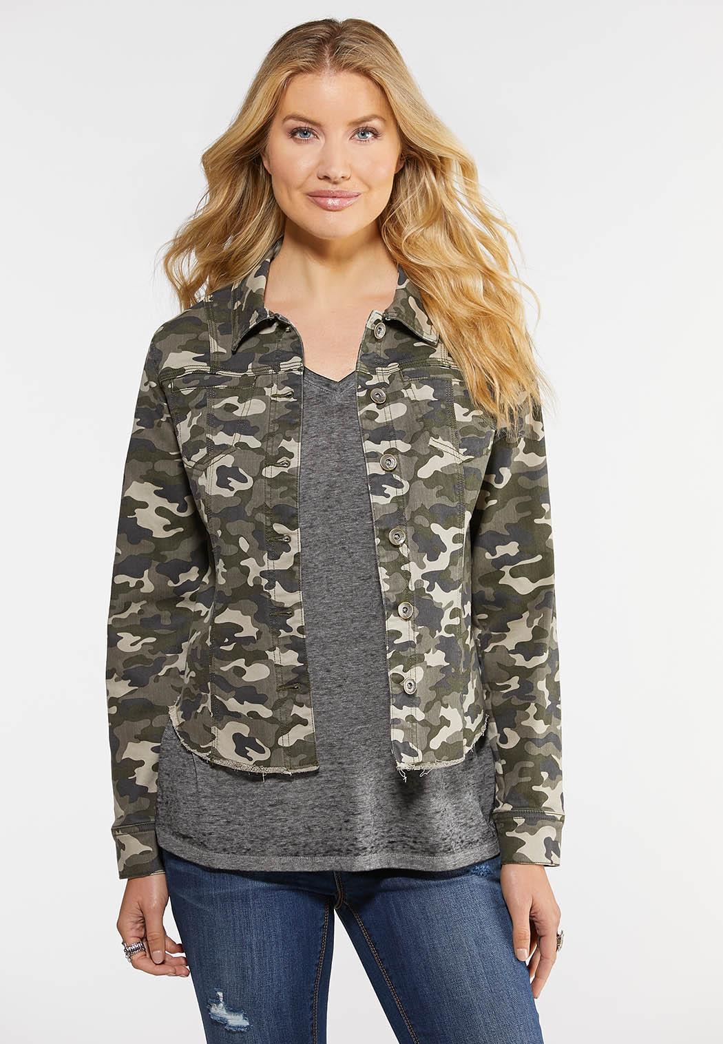 Plus Size Raw Hem Camo Jacket Jackets & Amp ; Vests Cato Fashions