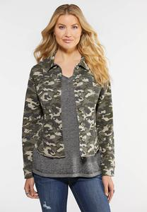 Plus Size Raw Hem Camo Jacket