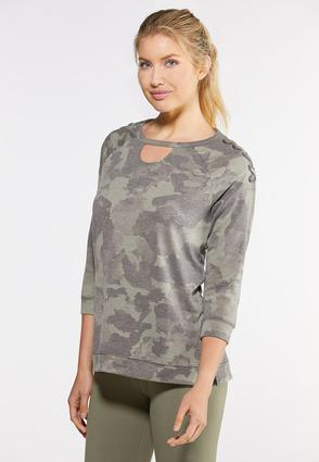 Plus Size Camo Lace Up Sleeve Top