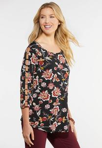 Plus Size Floral Puff Lattice Top
