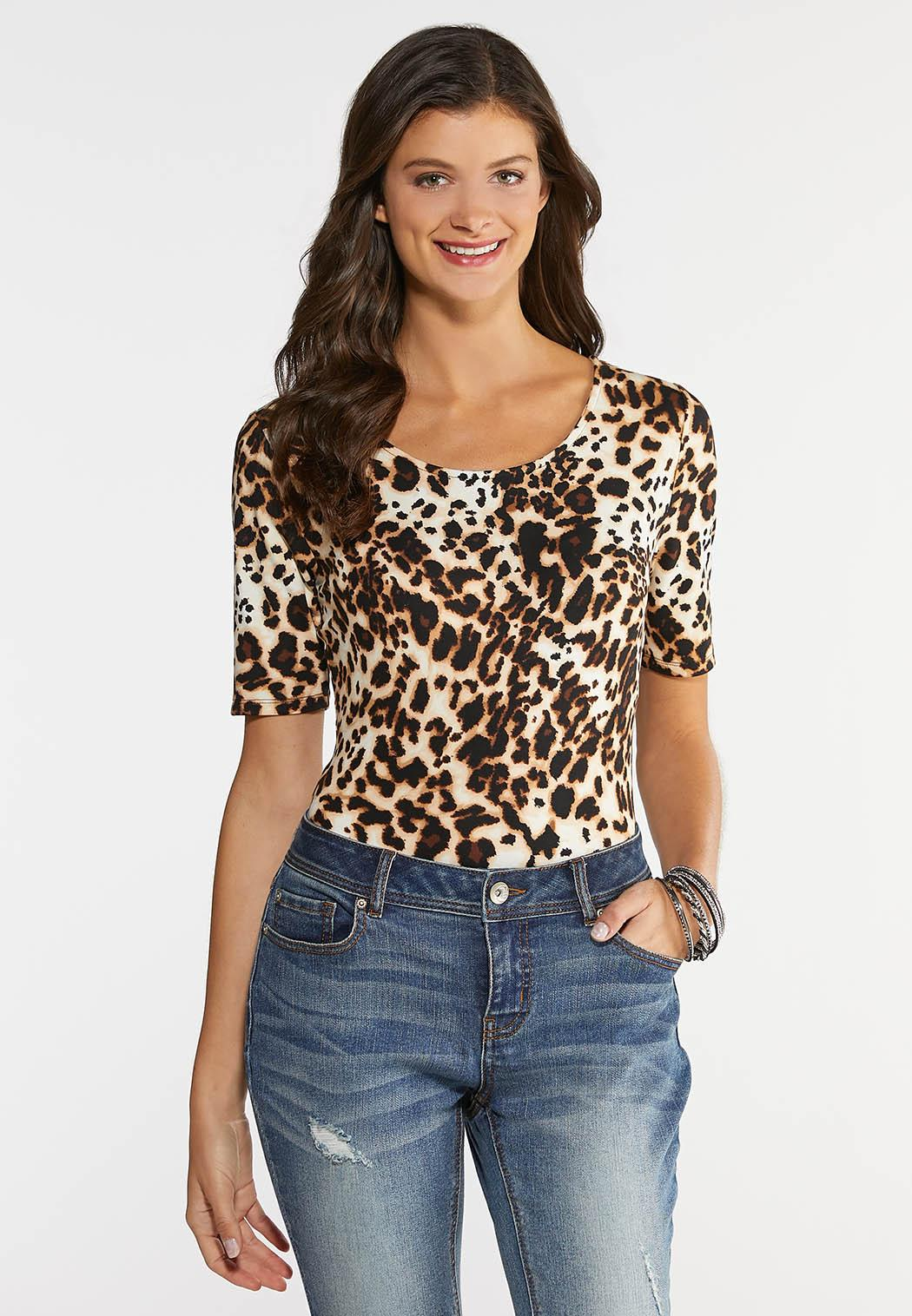 Plus Size Leopard Print Bodysuit