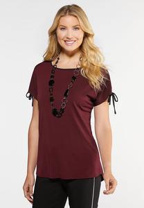 Plus Size Tie Sleeve Wine Top