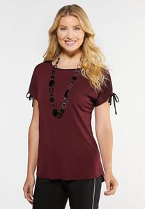 Plus Size Tie Sleeve Wine Top