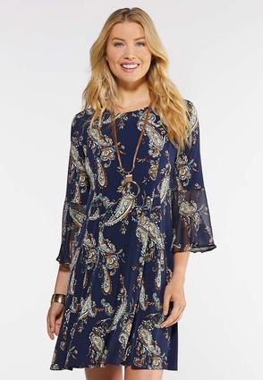 Plus Size Paisley Bell Sleeve Swing Dress
