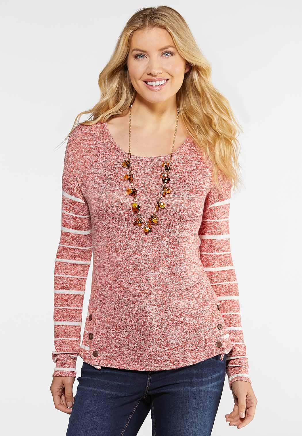 Marled Button Back Top