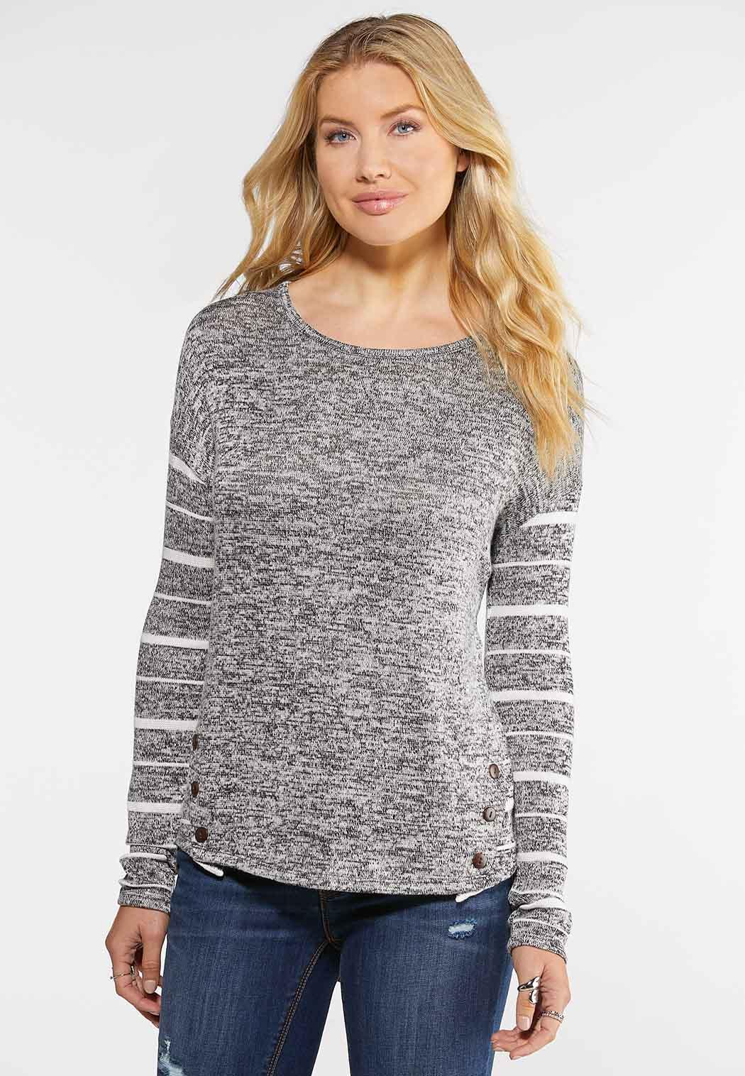 Plus Size Marled Button Back Top