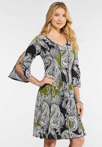 Plus Size Puff Seamed Dress