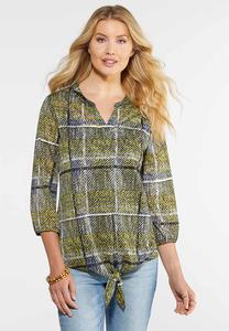 Plus Size Plaid Mesh Tie Front Top
