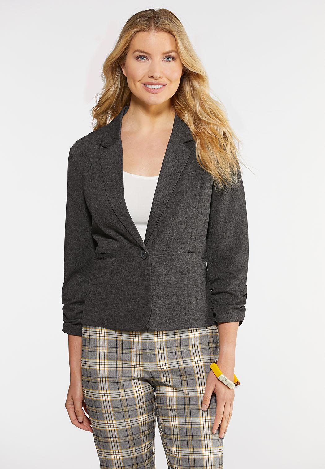 Plus Size Ruched Sleeve Ponte Blazer