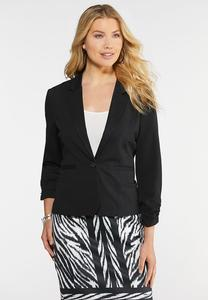 Plus Size Ruched Sleeve Ponte Blazer