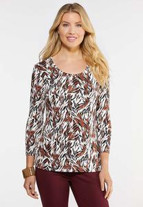 Plus Size Painted Tiger Top