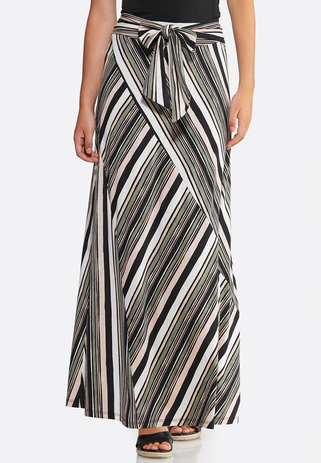 Striped Seamed Maxi Skirt