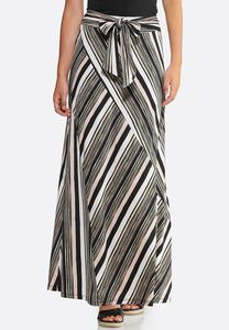 3d8d4aac4 Plus Size Striped Seamed Maxi Skirt