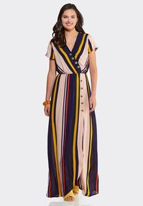 Striped Button Maxi Dress