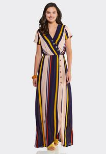 Petite Striped Button Maxi Dress