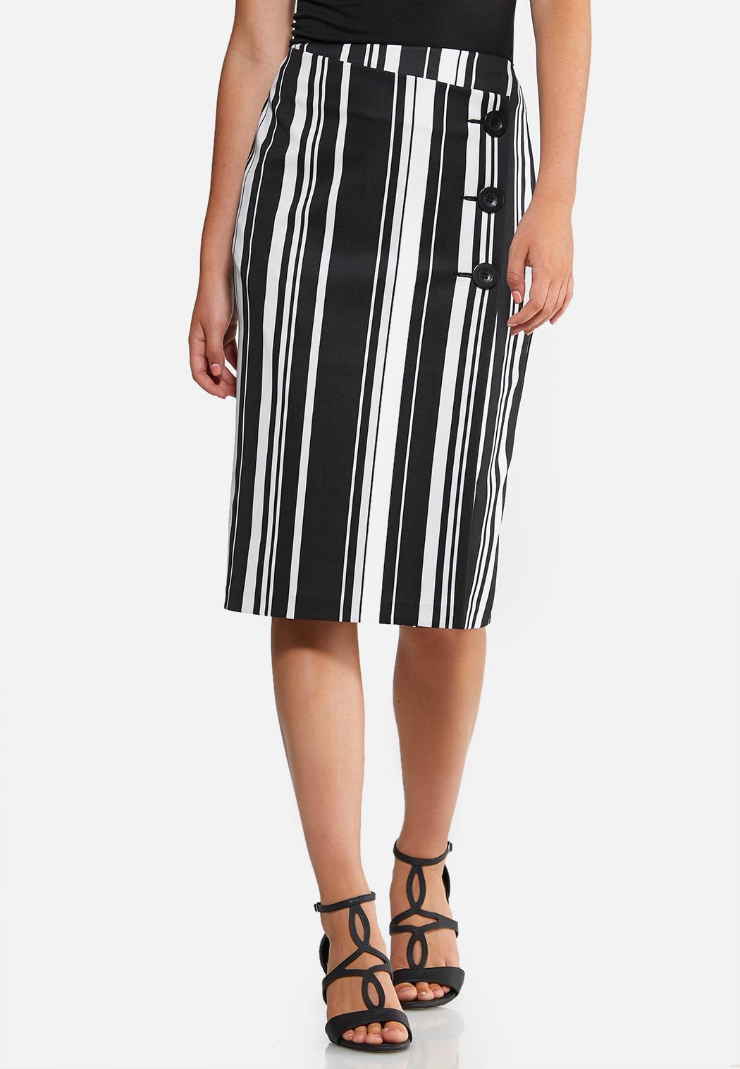 Striped Wrap Pencil Skirt
