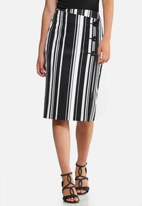 Striped Wrap Pencil Skirt