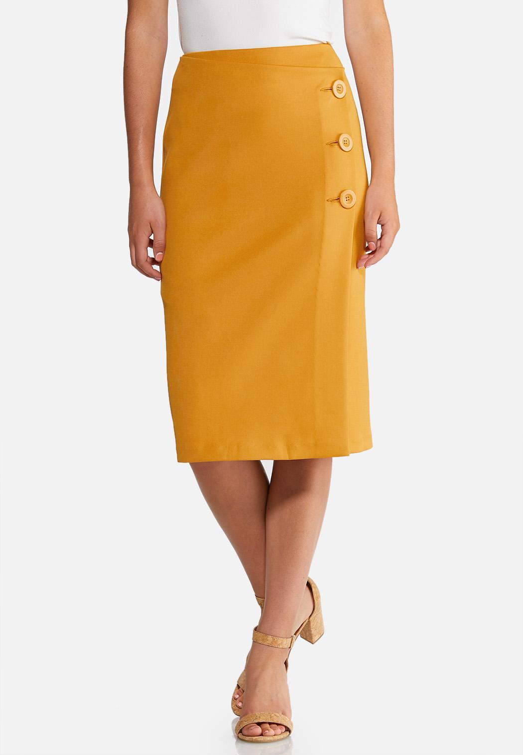 Wrap Button Skirt