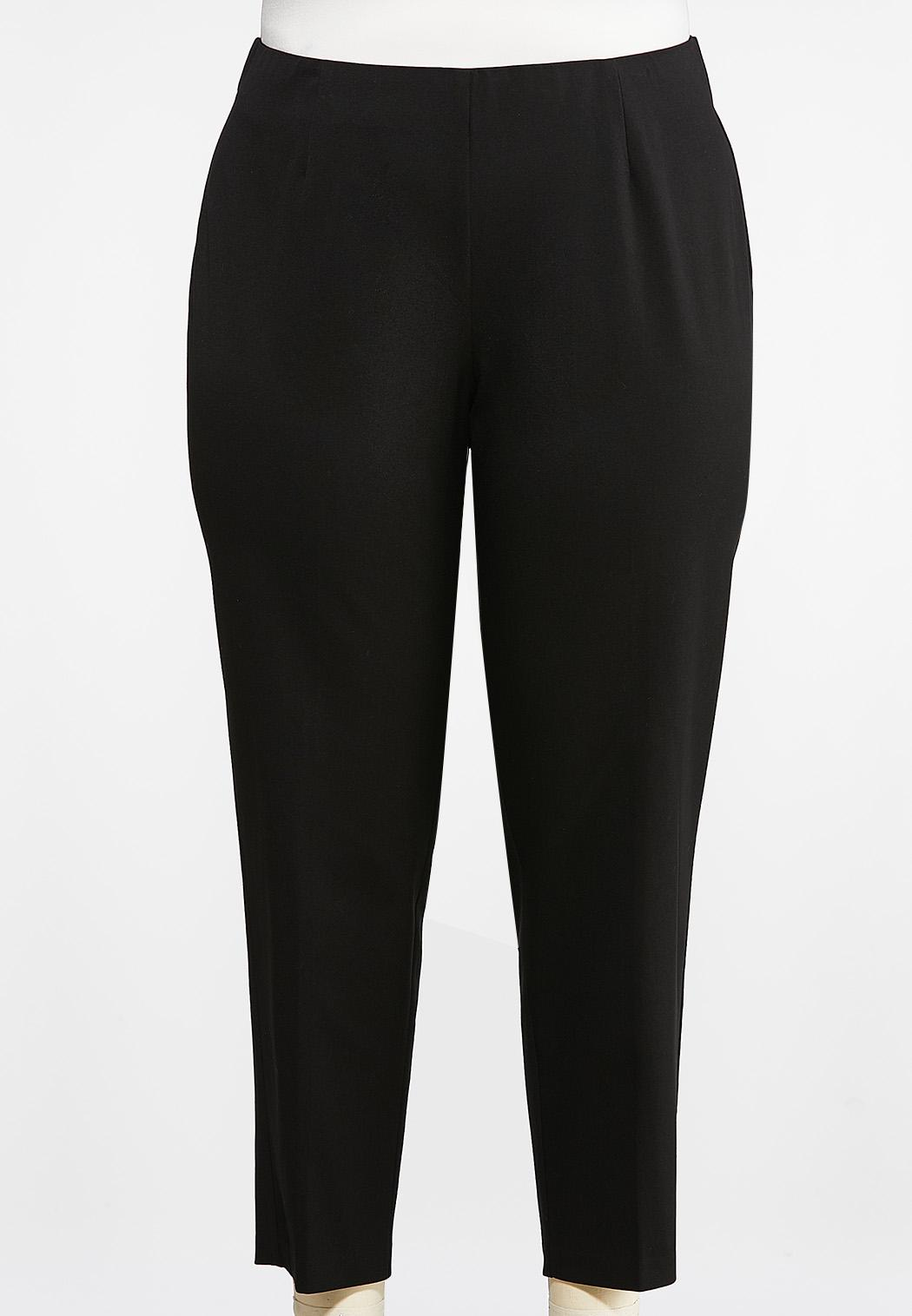 Plus Size Woven Ankle Pants