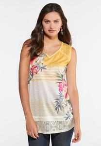 Plus Size Tropical Crochet Tank