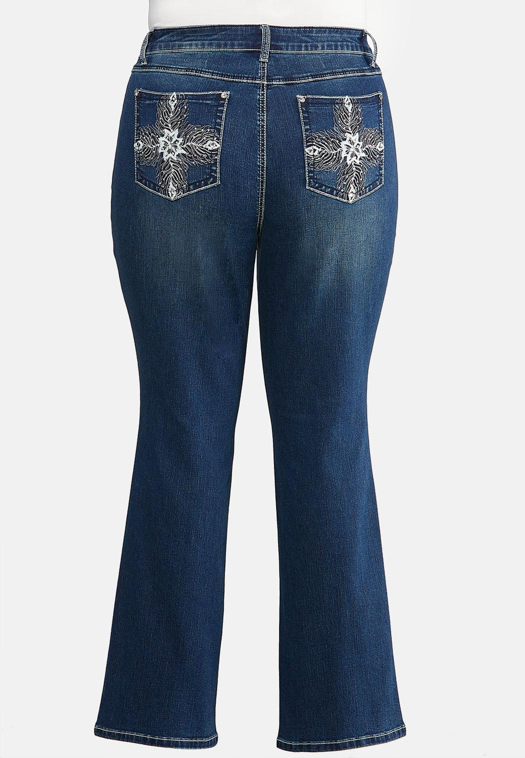 Plus Size Bootcut Bling Feather Jeans