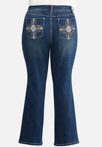 Plus Petite Bootcut Bling Feather Jeans
