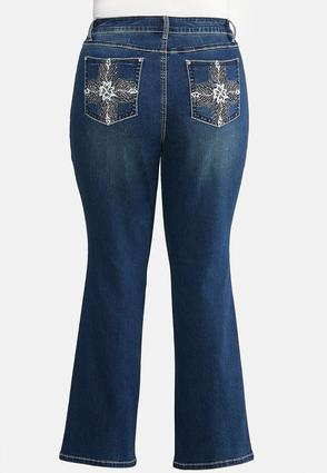 Plus Extended Bootcut Bling Feather Jeans