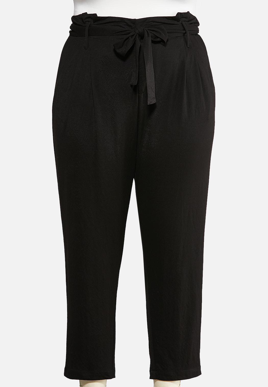 Plus Size Cropped Paperbag Pants